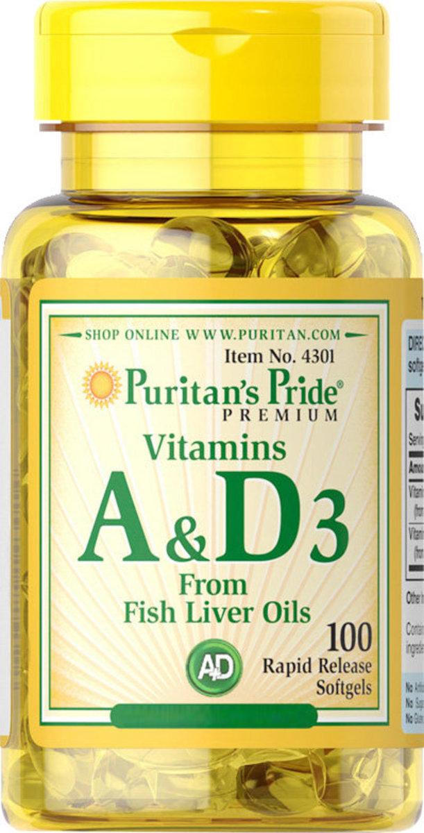 維他命A和維他命D3軟膠囊 (魚肝油萃取) 100粒 [EXP 有效日期 3/2021]