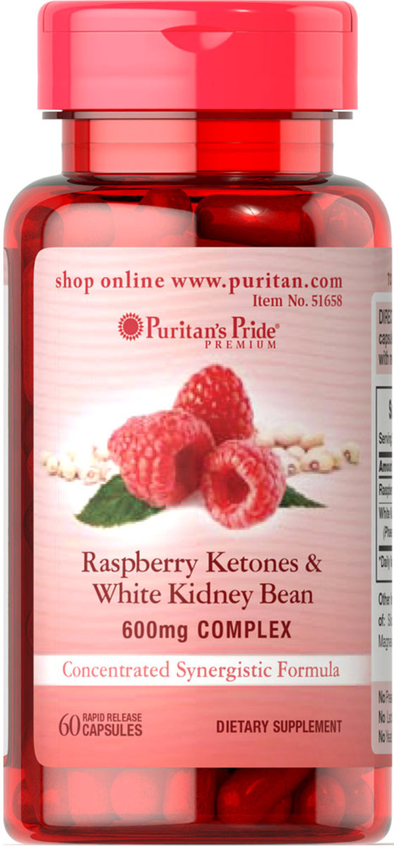 Raspberry Ketones and White Kidney Bean 600mg Complex 60s (EXP:5/21)