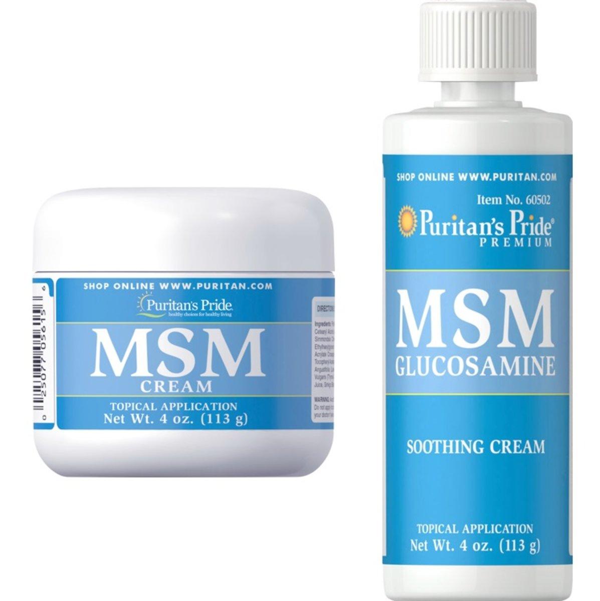 MSM CREAM 4 Oz(EXP: 4/2021)  + MSM Glucosamine Cream 4 Oz(EXP:1/21)