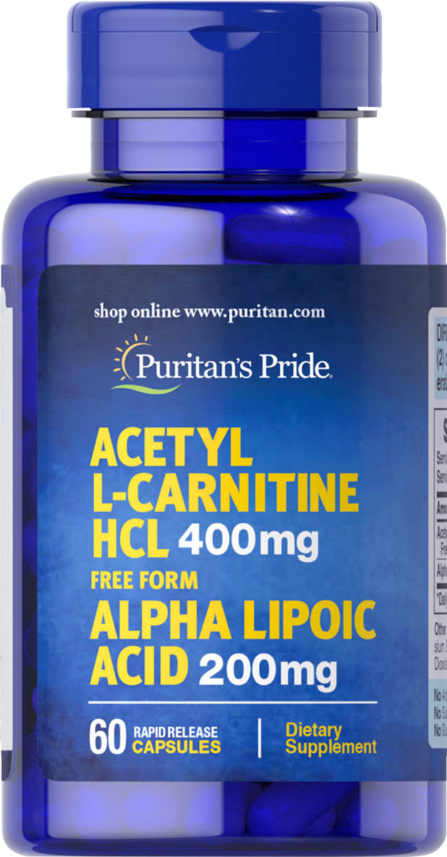 Acetyl L-Carnitine Free Form 400 mg with Alpha Lipoic Acid 200 mg 60s (EXP:1/20)
