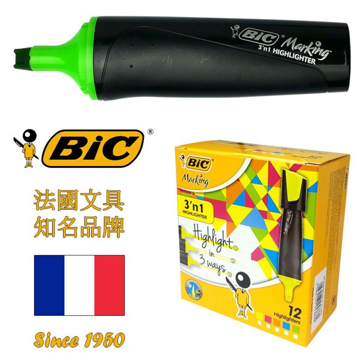 法國BIC Marking三合一螢光筆 – 綠色 (韓國製造) | 12支盒裝