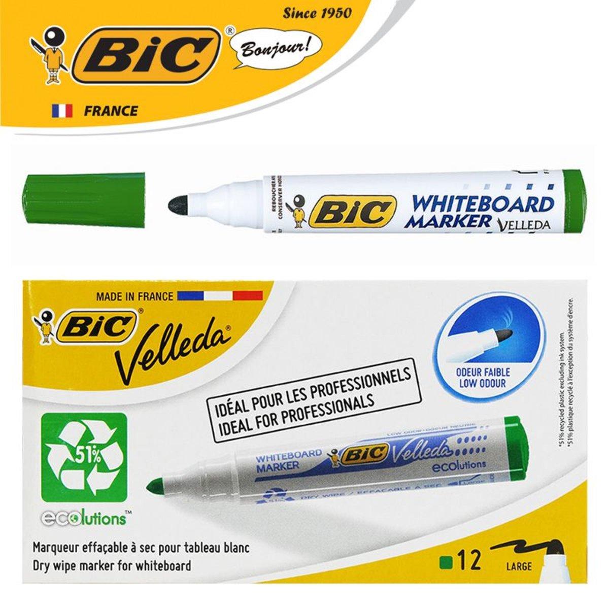 法國BIC VELLEDA 1701 白板筆 - 綠色 (法國製造) | 12支盒裝