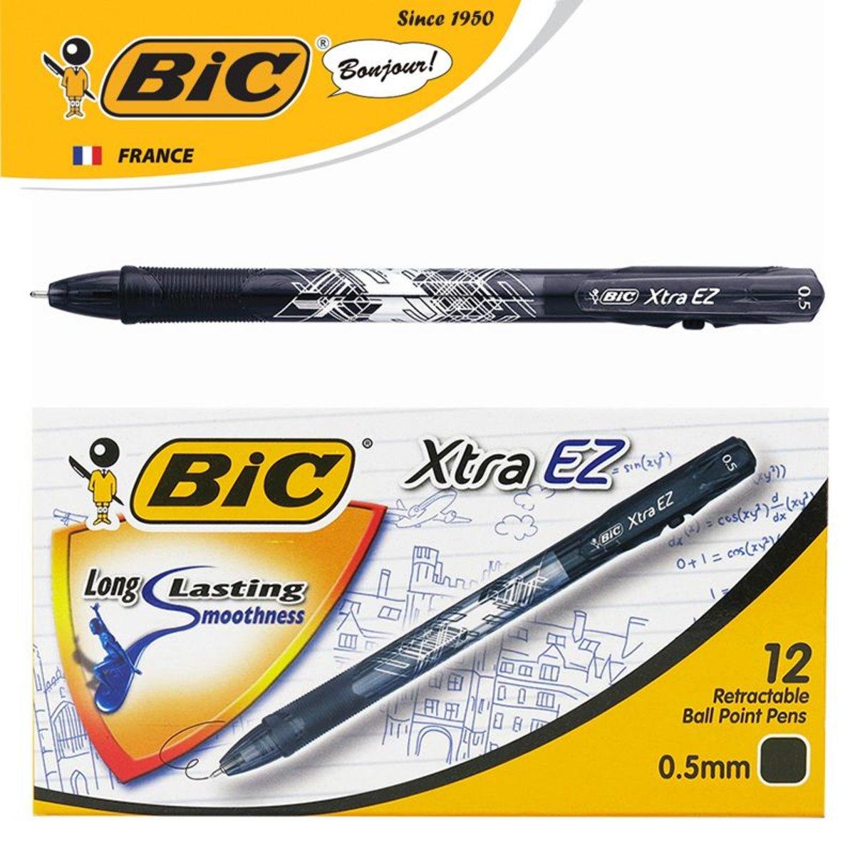 法國BIC Xtra EZ 0.5mm超順滑彩色筆桿按掣式原子筆 - 黑色   12支盒裝