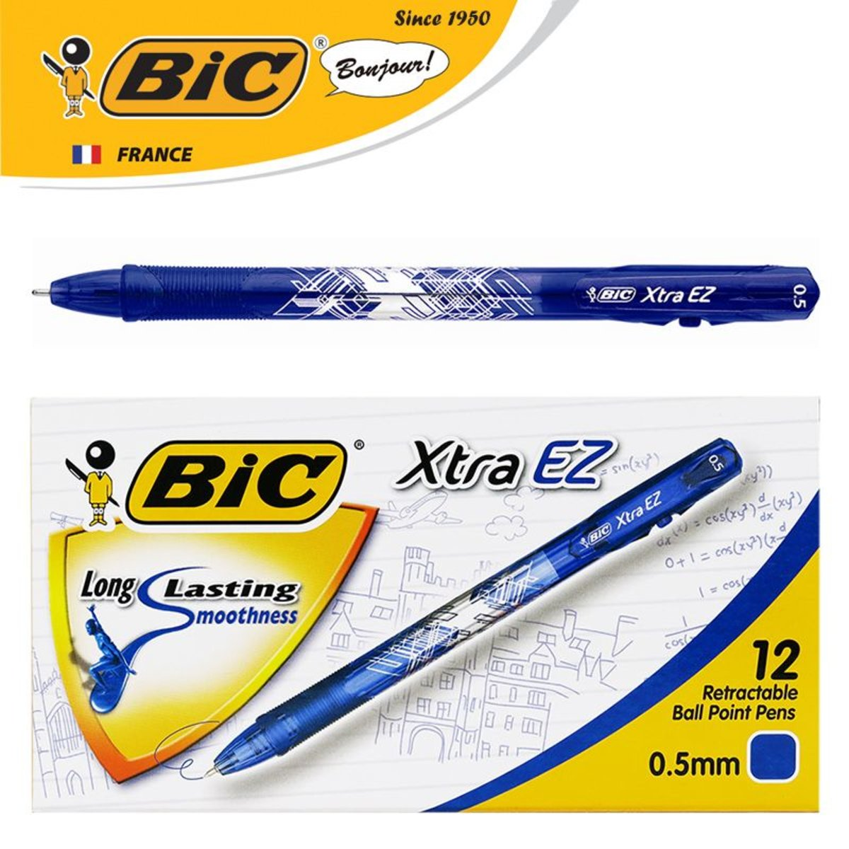 Xtra EZ Clic 0.5mm Ball Pen – Blue | 12 pcs/box
