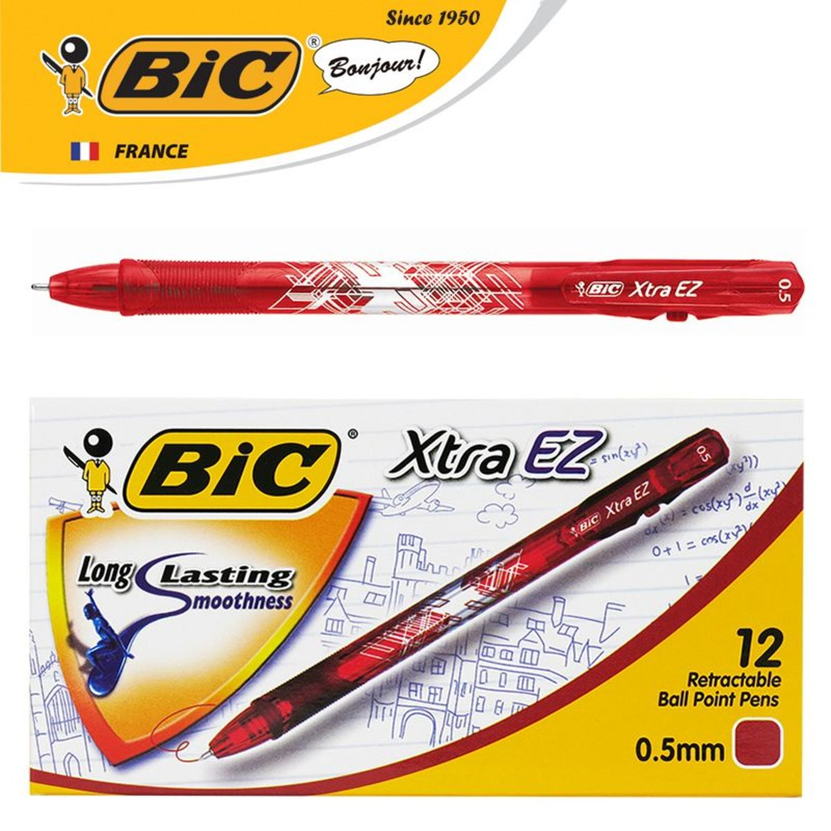 Xtra EZ Clic 0.5mm Ball Pen – Red | 12 pcs/box