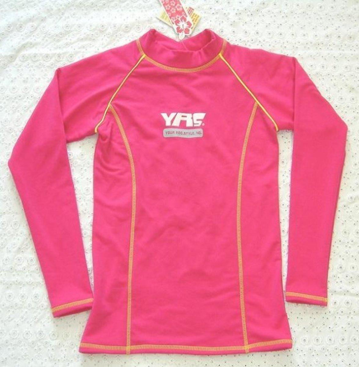 中童游水長袖保暖/防曬 上衣 , C-2110BE-6 , 桃紅色