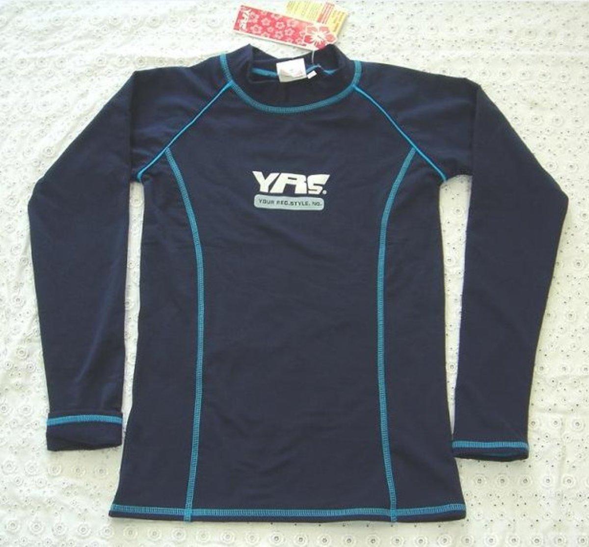 中童游水長袖保暖/防曬 上衣 , C-2110BE-7 , 深藍色