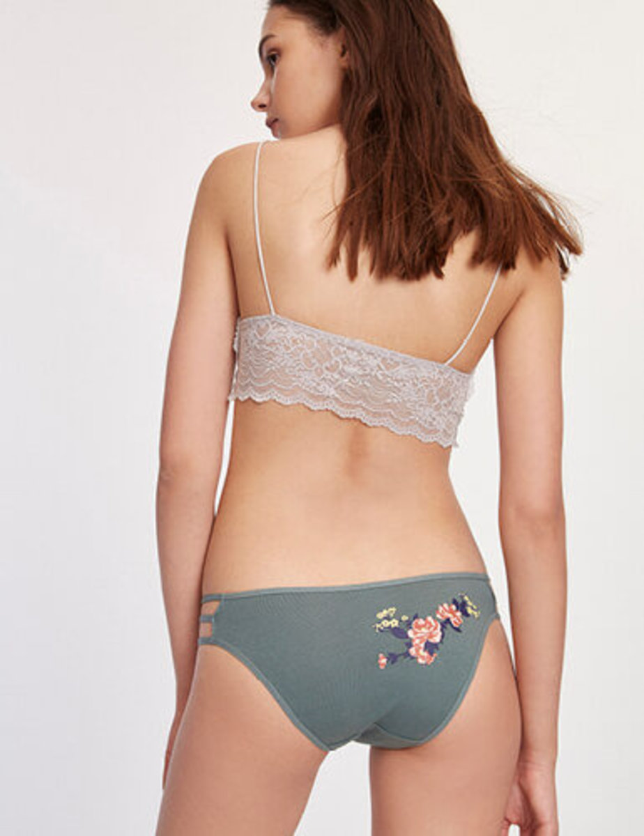 Blossom.Women Mid Rise Cotton Caged Side Hipster Panty