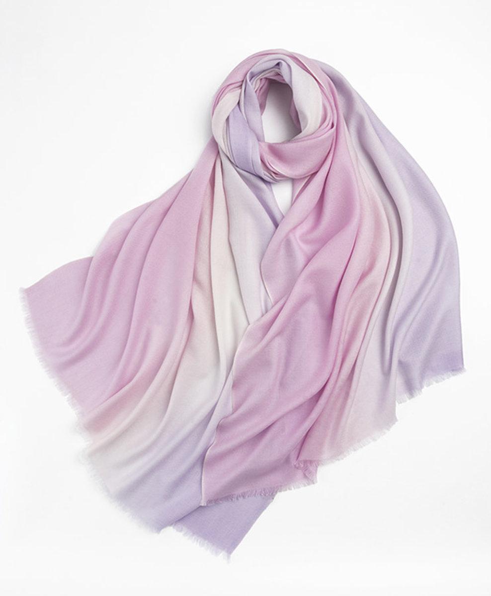 100% Wool Twill Gradation Scarves (Pink/Lilac)