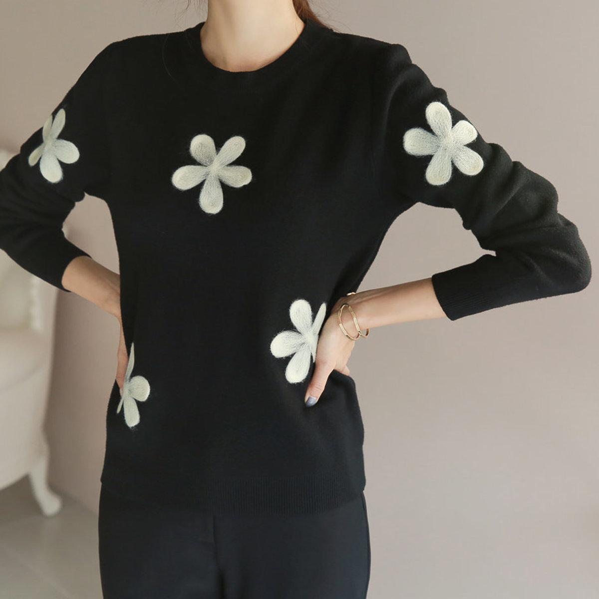 花朵圖案針織衫