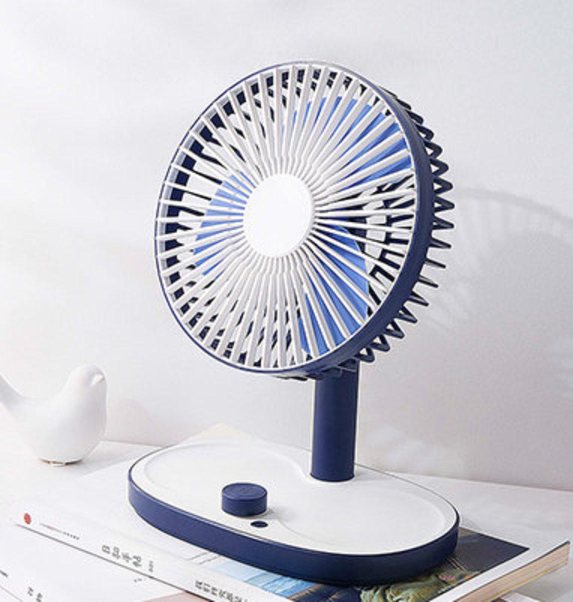 """人氣智能""""可定時""""桌上風扇/可充電 - 藍色"""