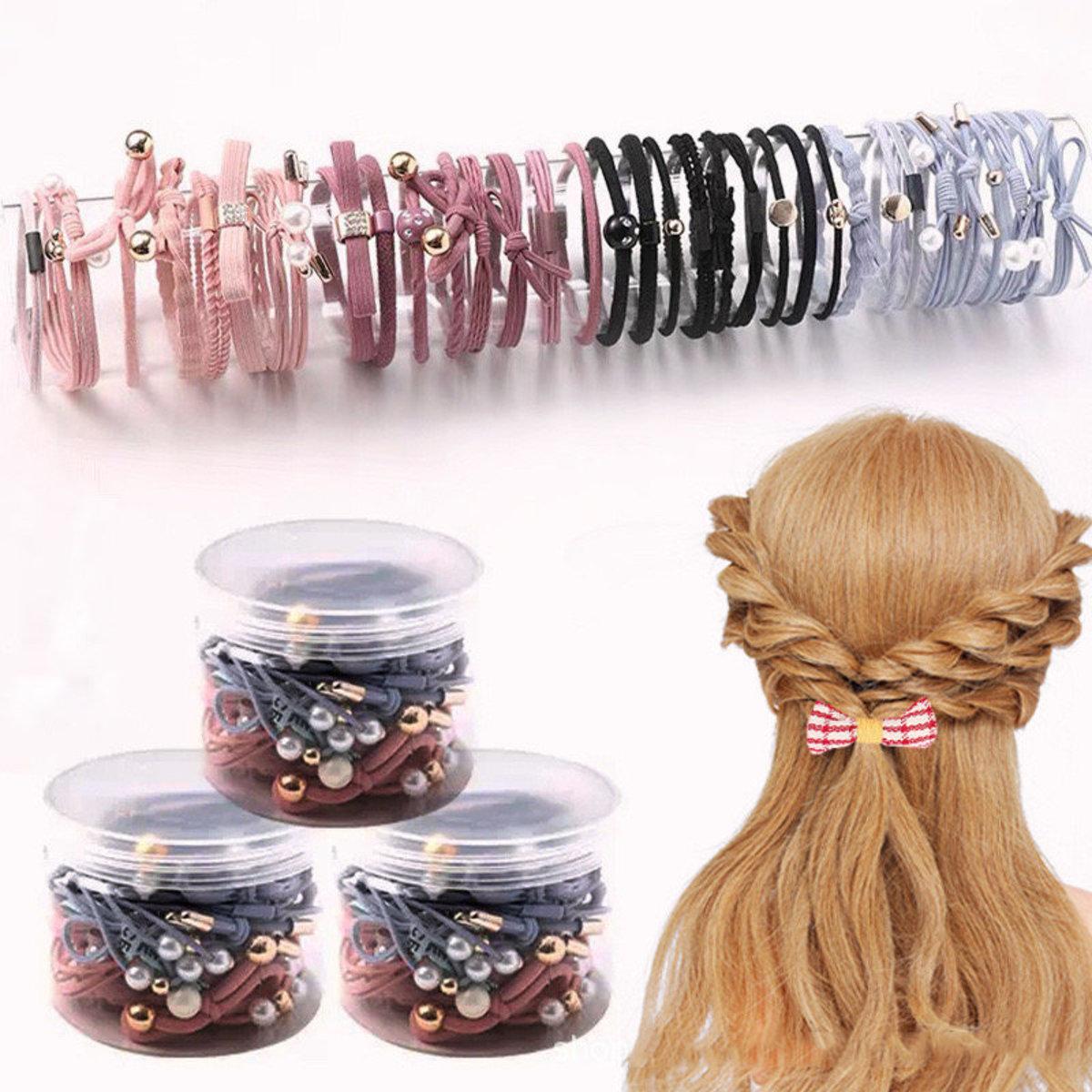 韓版頭繩套裝盒裝可愛發繩女成人紮頭髮小飾品皮筋髮圈【2色35件套盒裝】