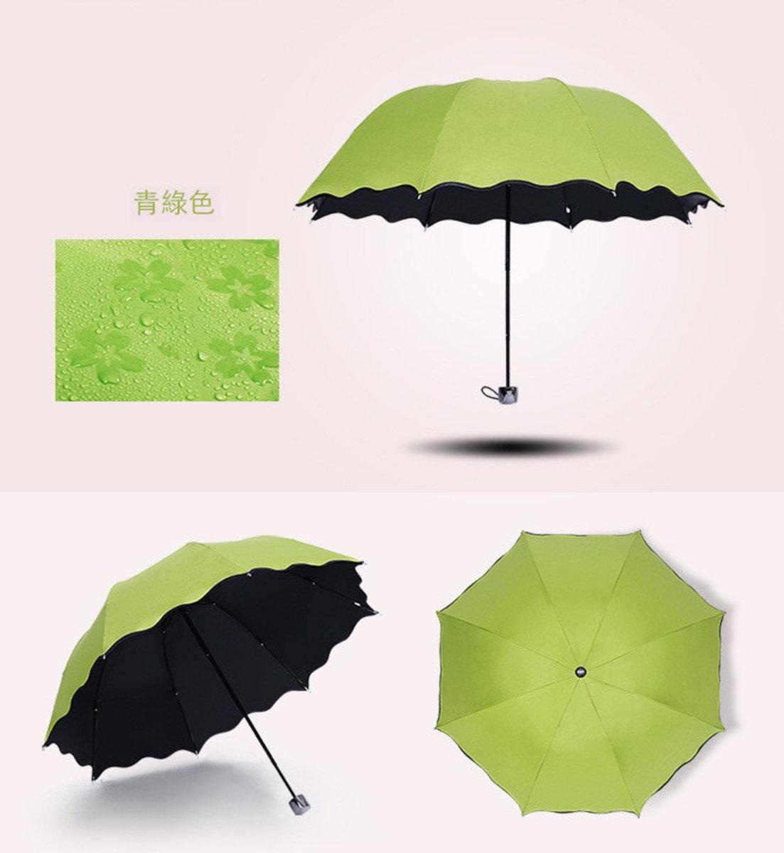 日式女士花紋防紫外線傘 縮骨遮 -  青綠色