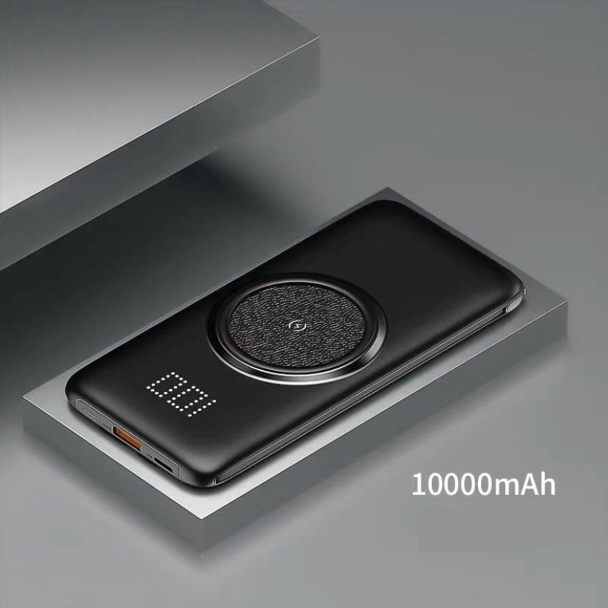 超薄便攜移動電源(自帶充電線)10000mAh-黑色