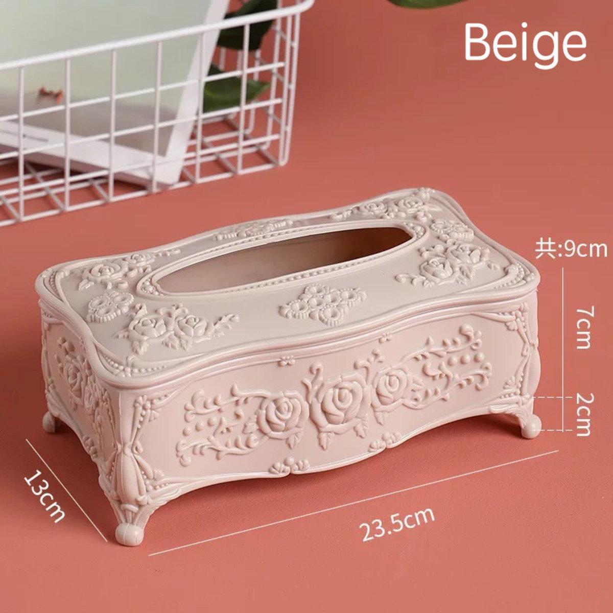 Plastic Storage & Tissue Box - Beige