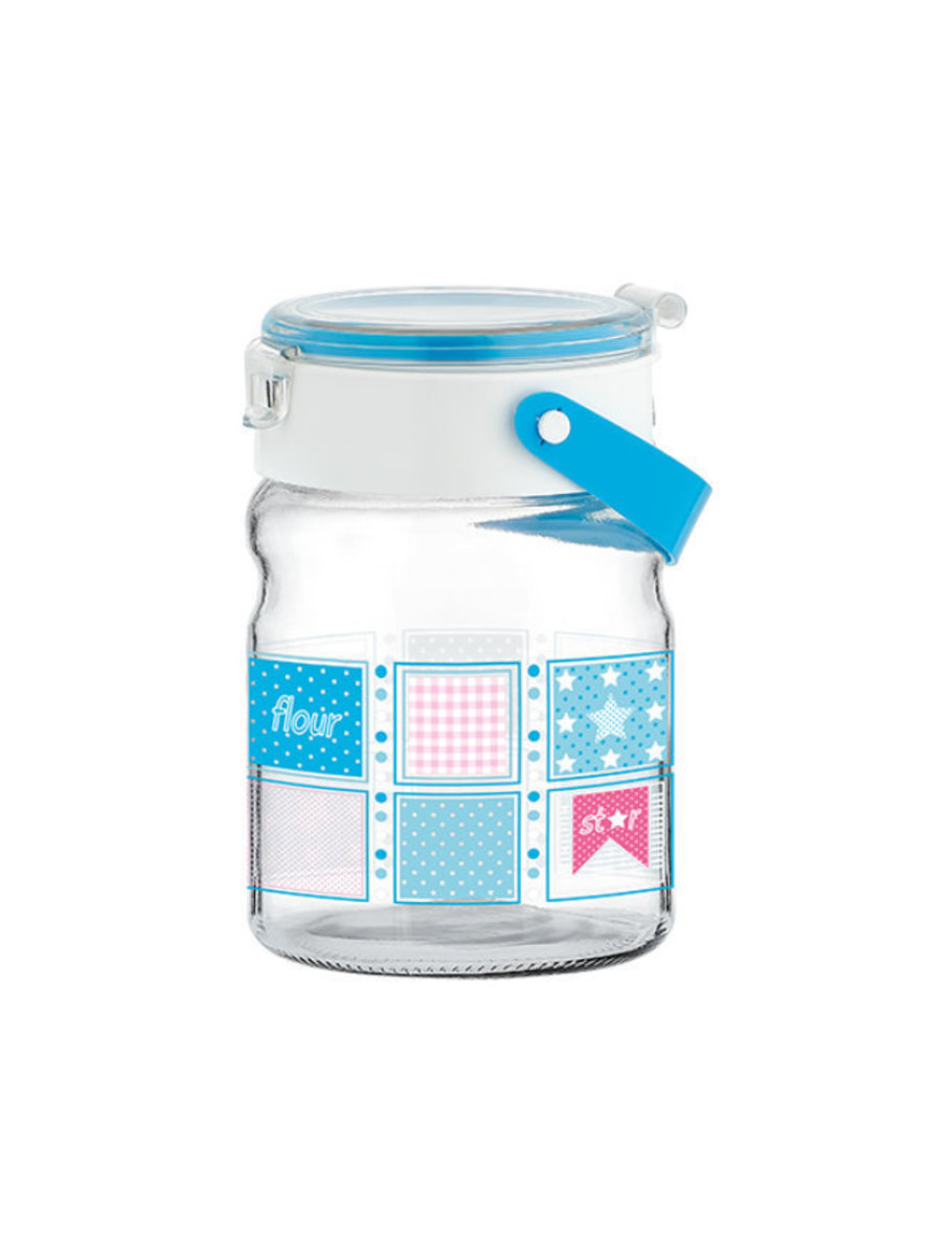 900 ml Blue Mono Decorated Glass Jar Container with handle