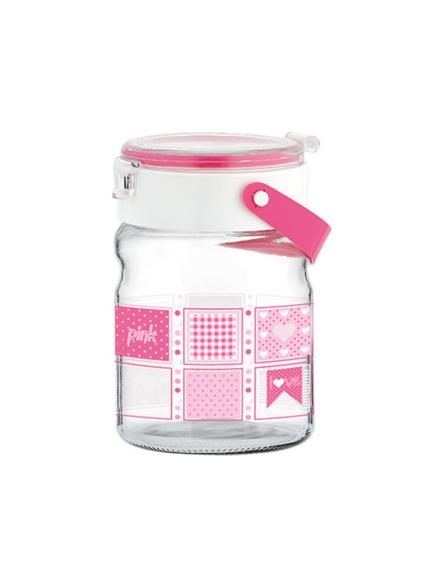 900 ml Pink Mono Decorated Glass Jar Container with handle