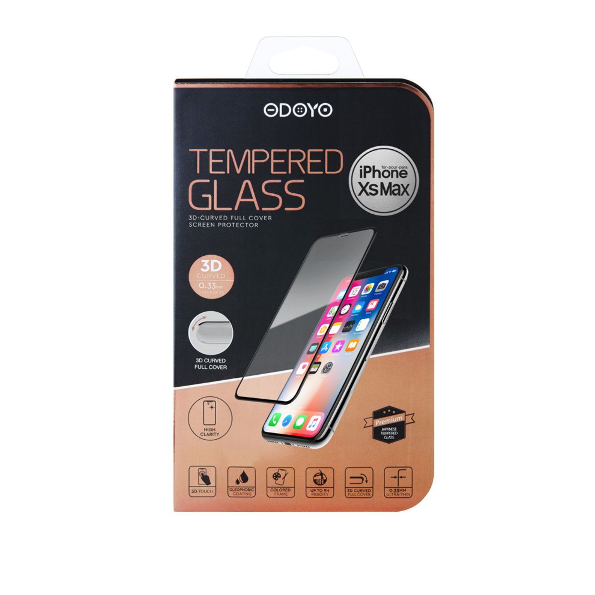 0.33mm Tempered Glass 3D-Curved Full Cover Screen Protector for iPhone XS Max