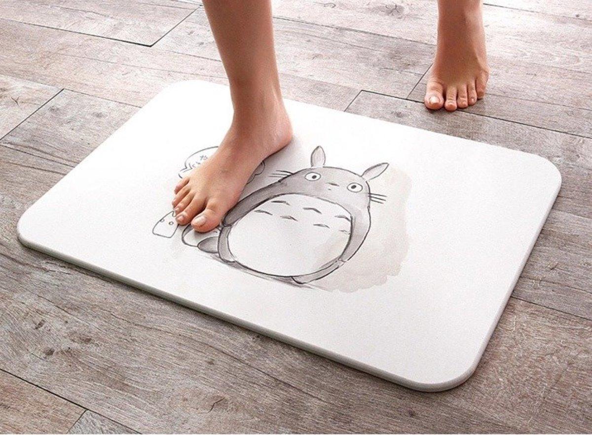 Diatom Mud Water Absorption Quick-Drying Bathroom Mat (Totoro) 60*39*0.9cm