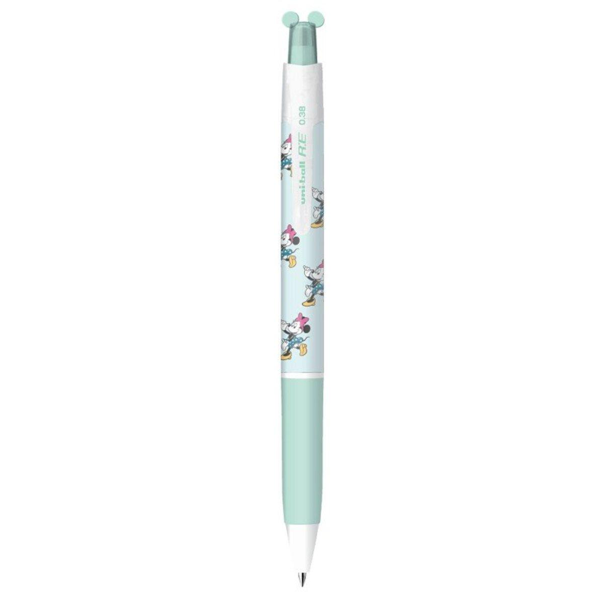 Japan UNI DISNEY Blue Design Minnie Mouse Erasable Pen Black Superfine 0.38mm