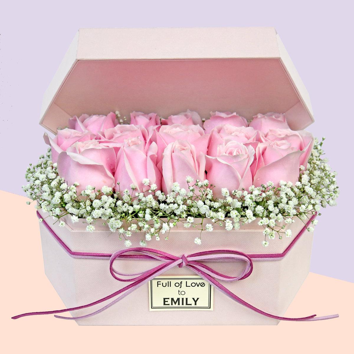 粉玫瑰人名定制盒花 F006