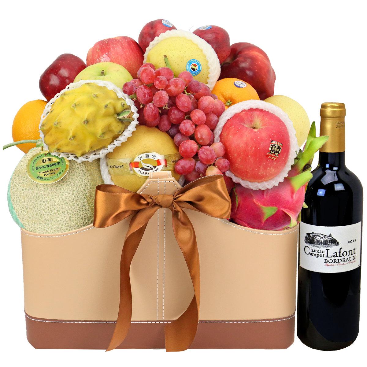 高級紅酒水果籃 F004