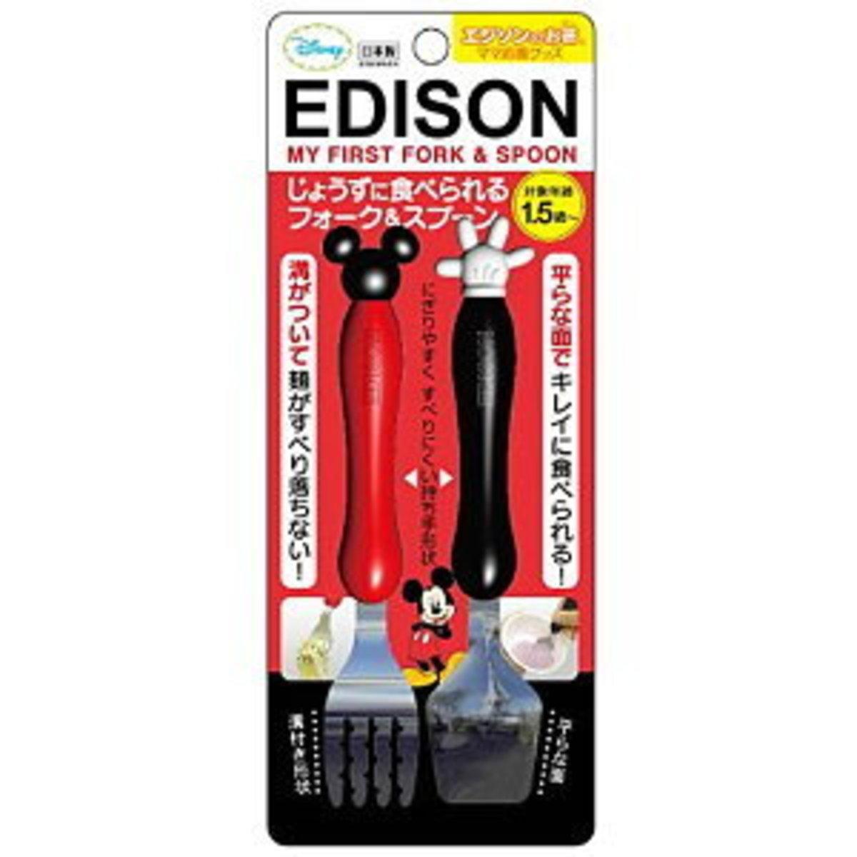 Edison 1.5歲起嬰兒手感餐具套庄(匙+叉)米奇