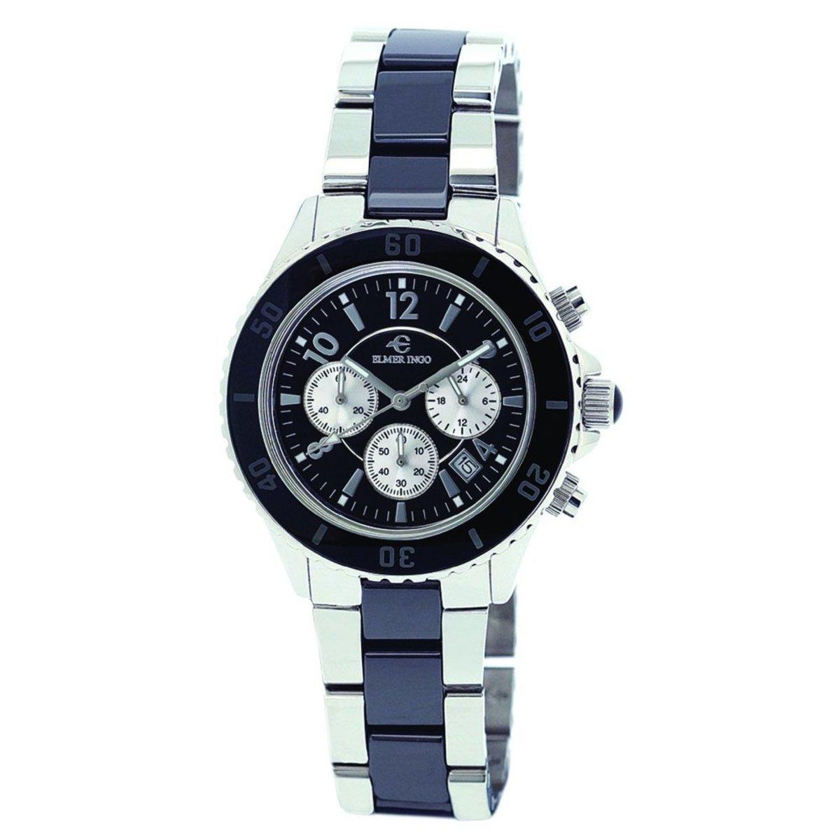 Semi Ceramics Chronograph 女裝 石英手錶 黑色錶盤 陶瓷精鋼錶帶