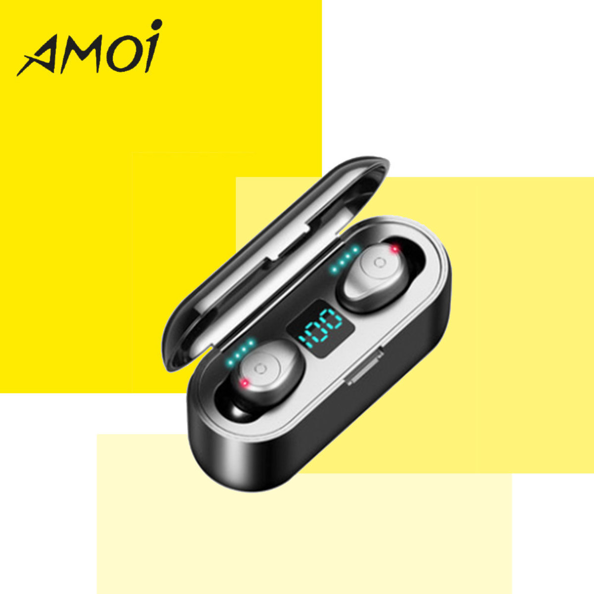 Bluetooth 5.0 earphone - F9 LED (Black)