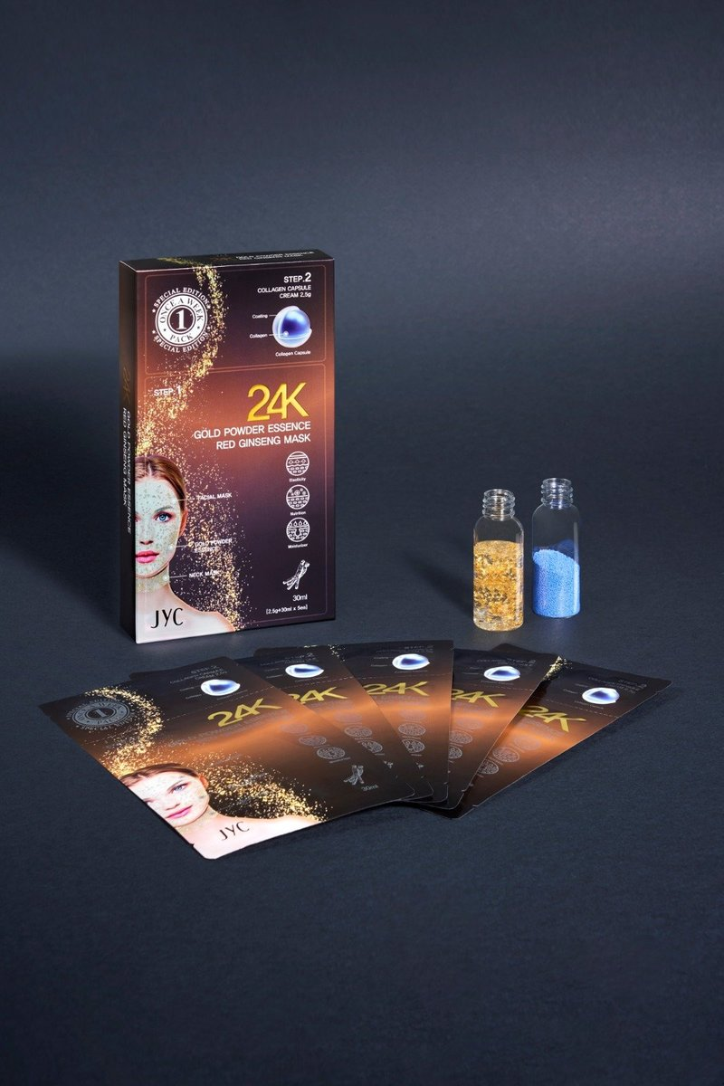 5 boxes JYC 24K Gold Powder Essence Red Ginseng Mask (5 pieces/box)