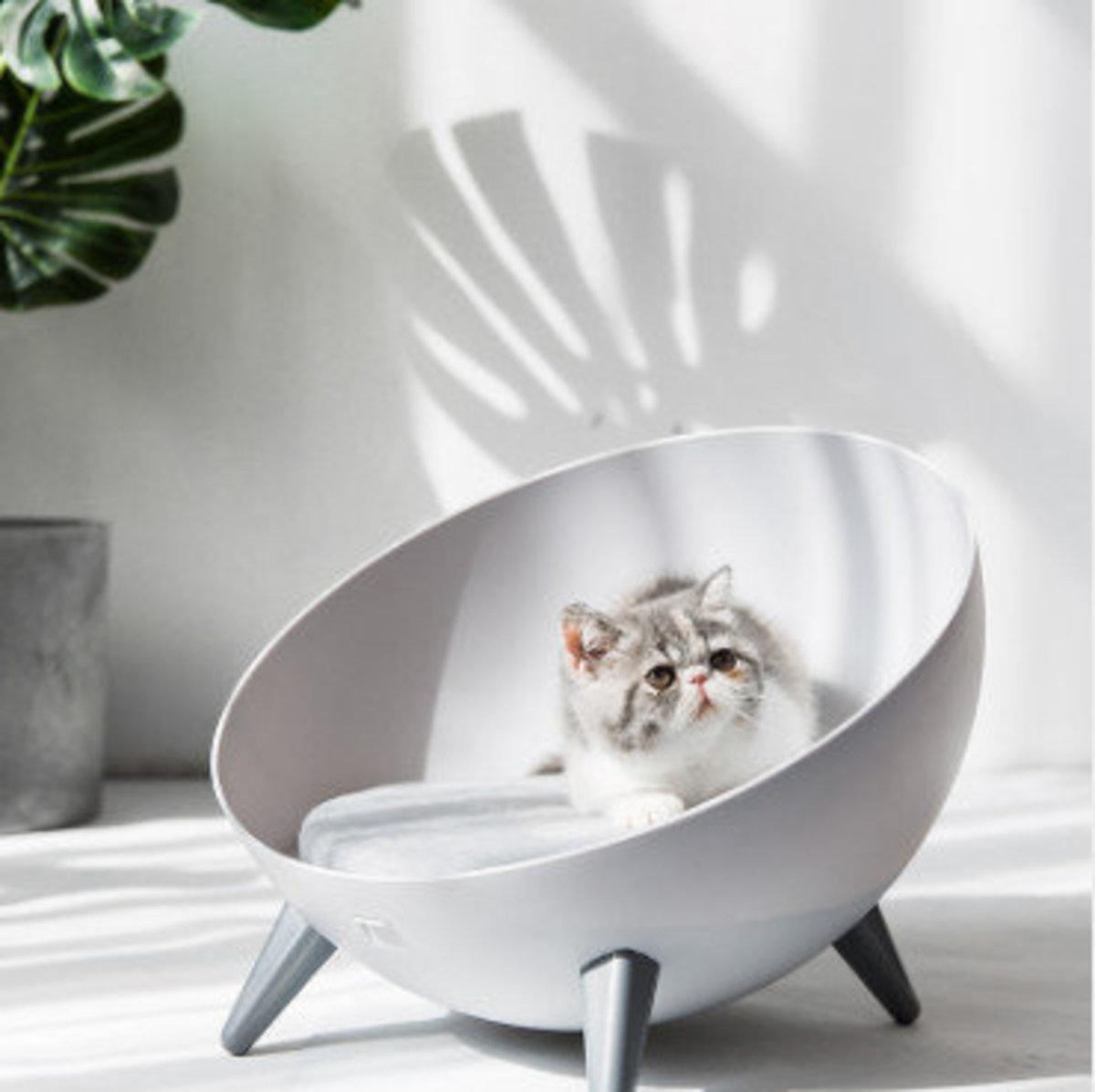 四季通用半球型貓窩貓屋(灰色,球型直徑41cm,高11cm)