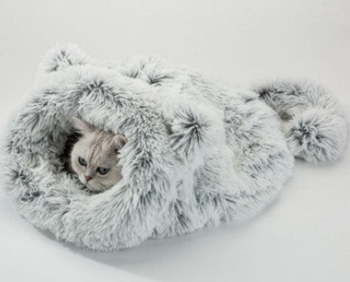 貓咪貓睡袋狗床貓窩(灰色,均碼 55*55)