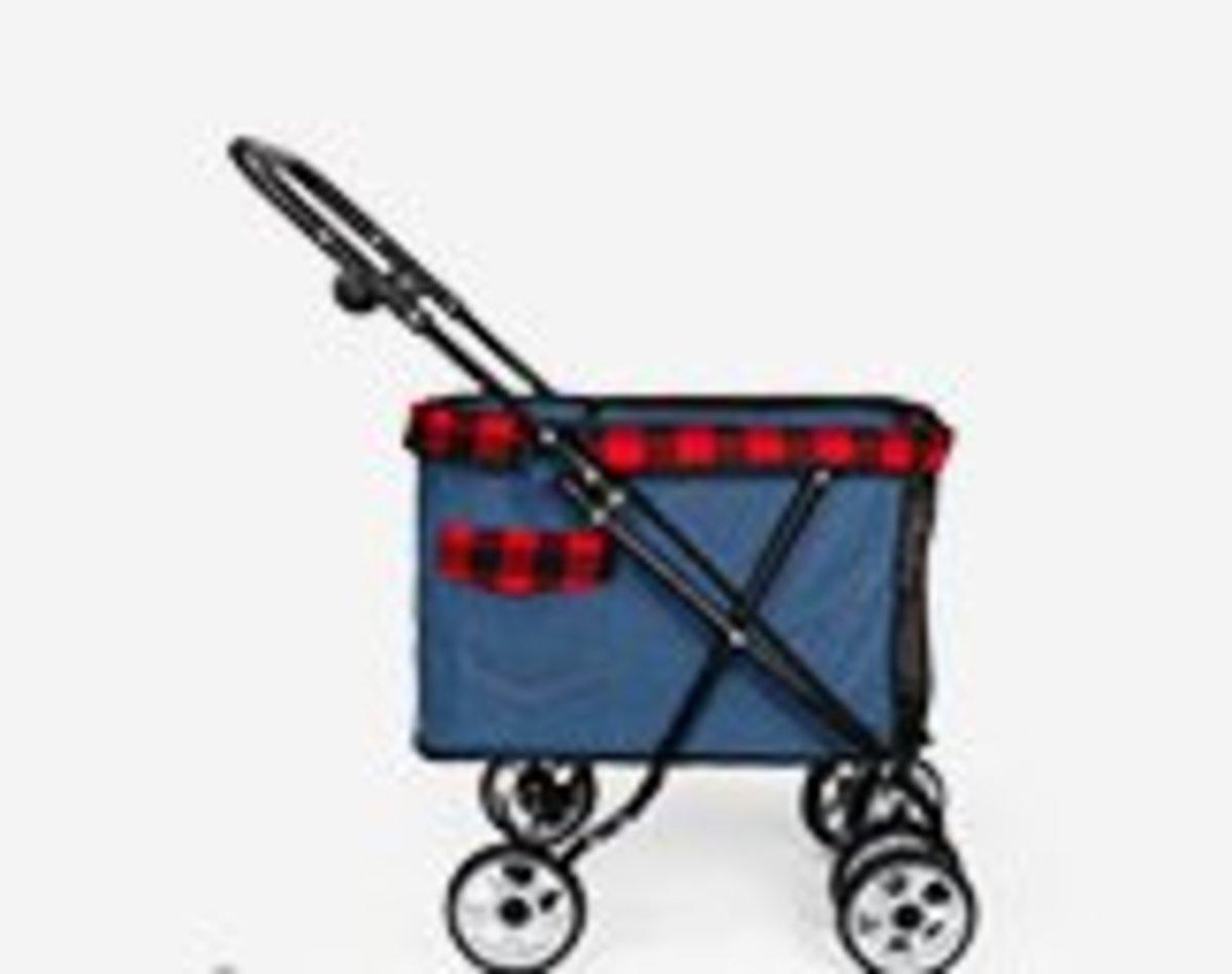 寵物手推車便攜小型寵物車(深藍色)
