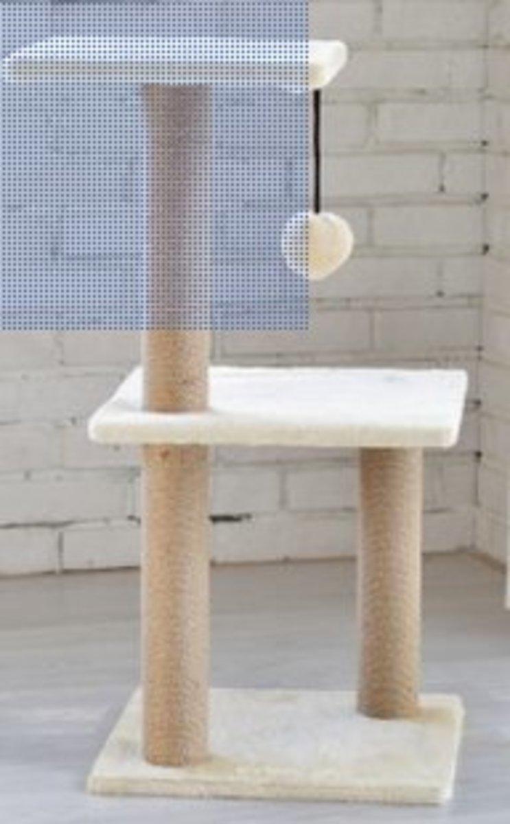 雙層跳台彃簧球吊球貓窩(米黃色毛絨)