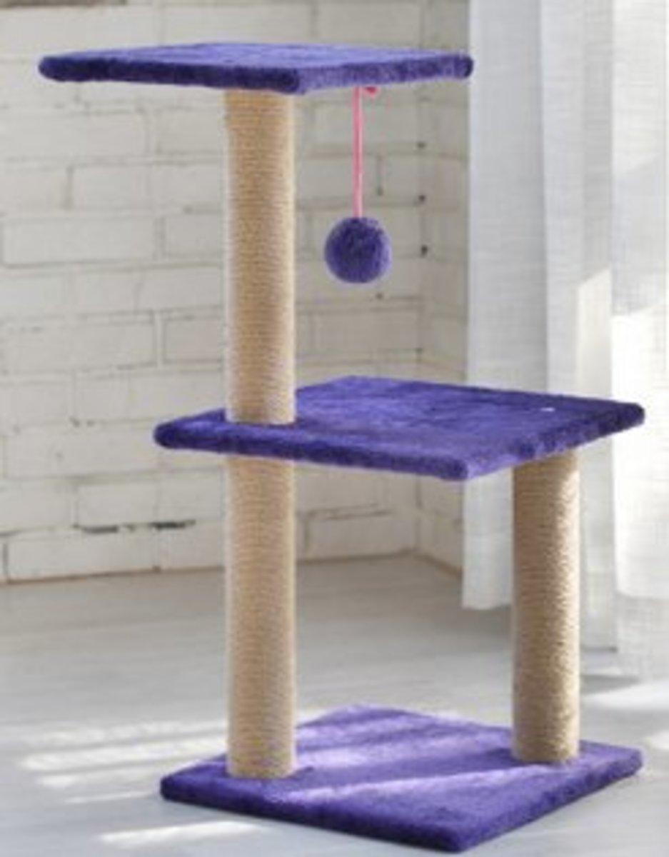 雙層跳台彃簧球吊球貓窩(深紫色毛絨)