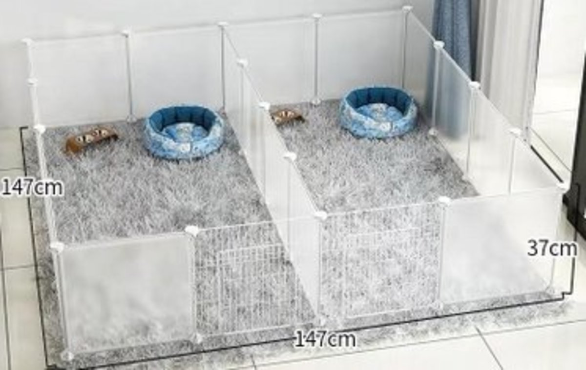 DIY 自由組裝寵物圍欄寵物窩(8格加8格帶門)