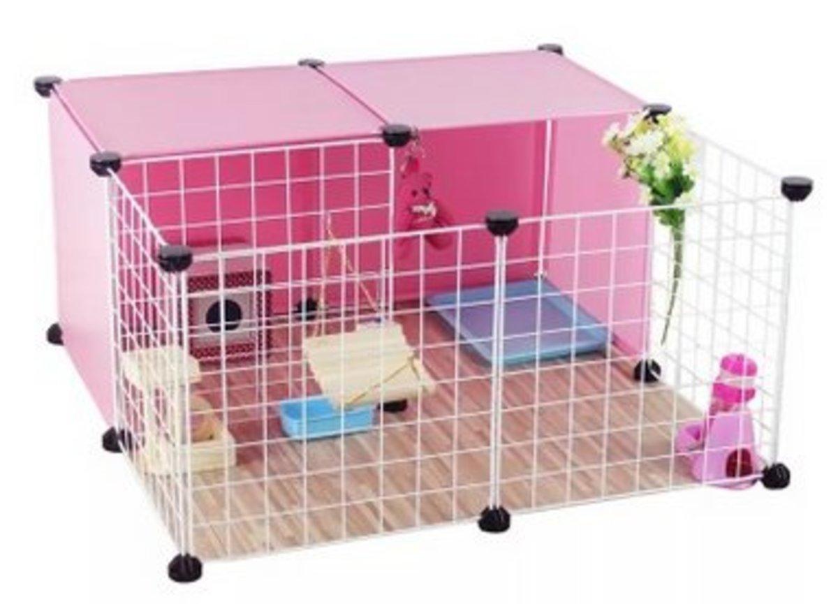 簡易組裝小型犬圍欄(6粉+5白網)