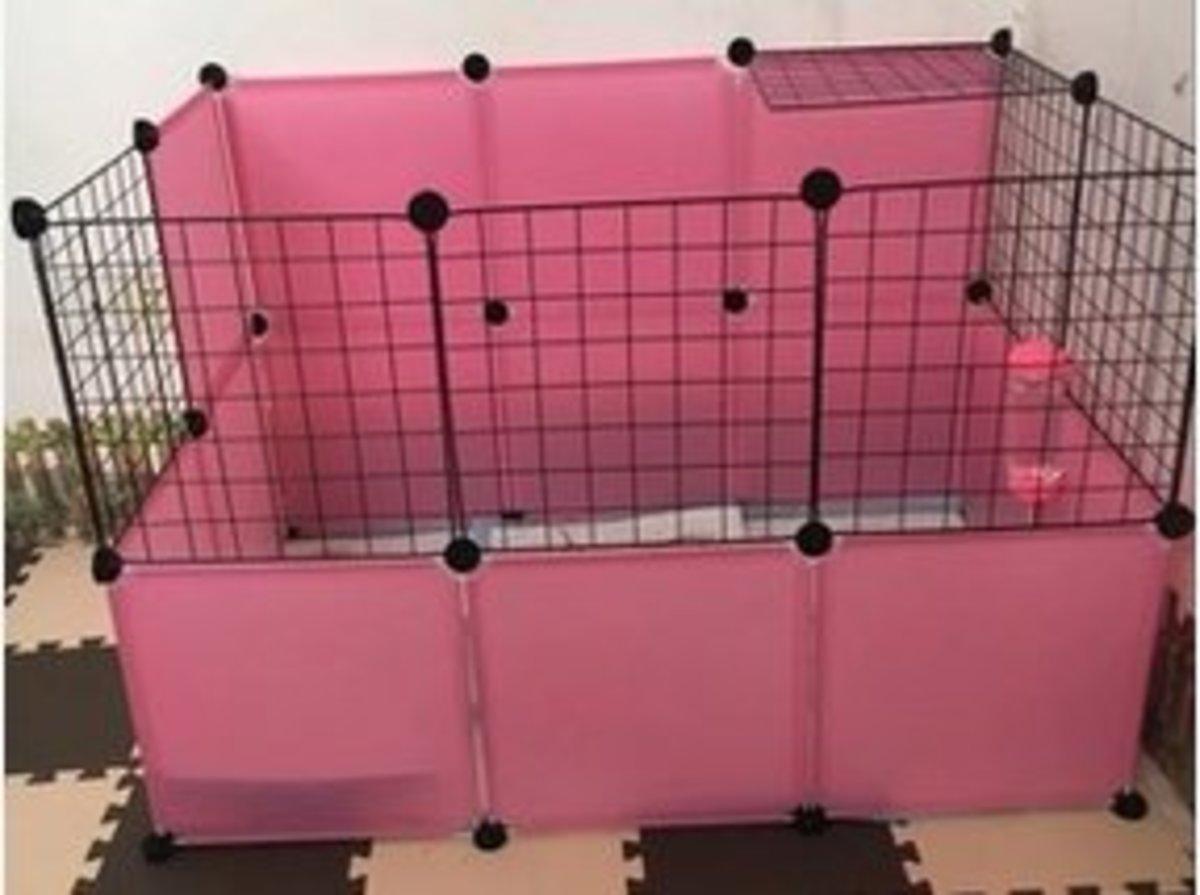簡易組裝小型犬圍欄(粉14+黑網7)