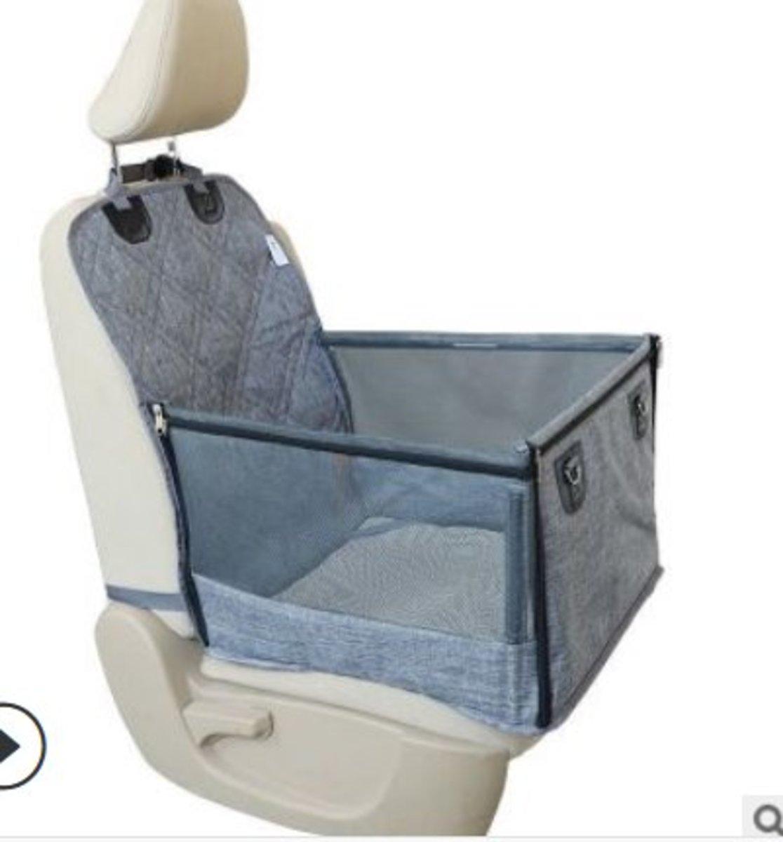副駕駛座位寵物窩汽車墊帶網窗拉鍊(有草蓆,灰)