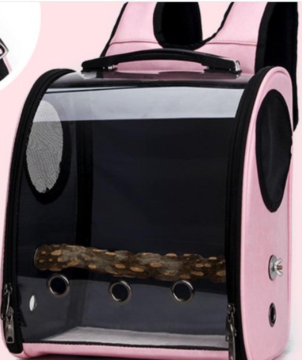 鳥籠-多孔透氣透明太空艙鸚鵡外出袋(粉色33x17x38cm)