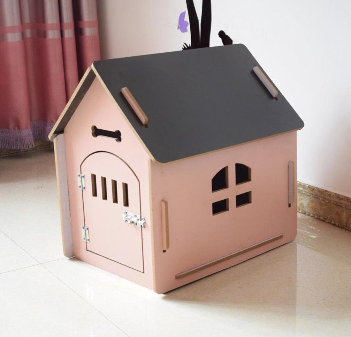 寵物木房貓狗通用加木門  粉色L(內徑 50*39*53)