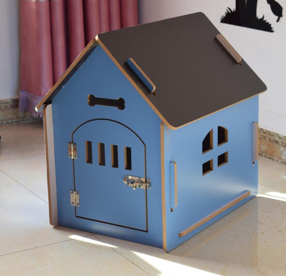 寵物木房貓狗通用加木門  藍色M (內徑 44*35*50)