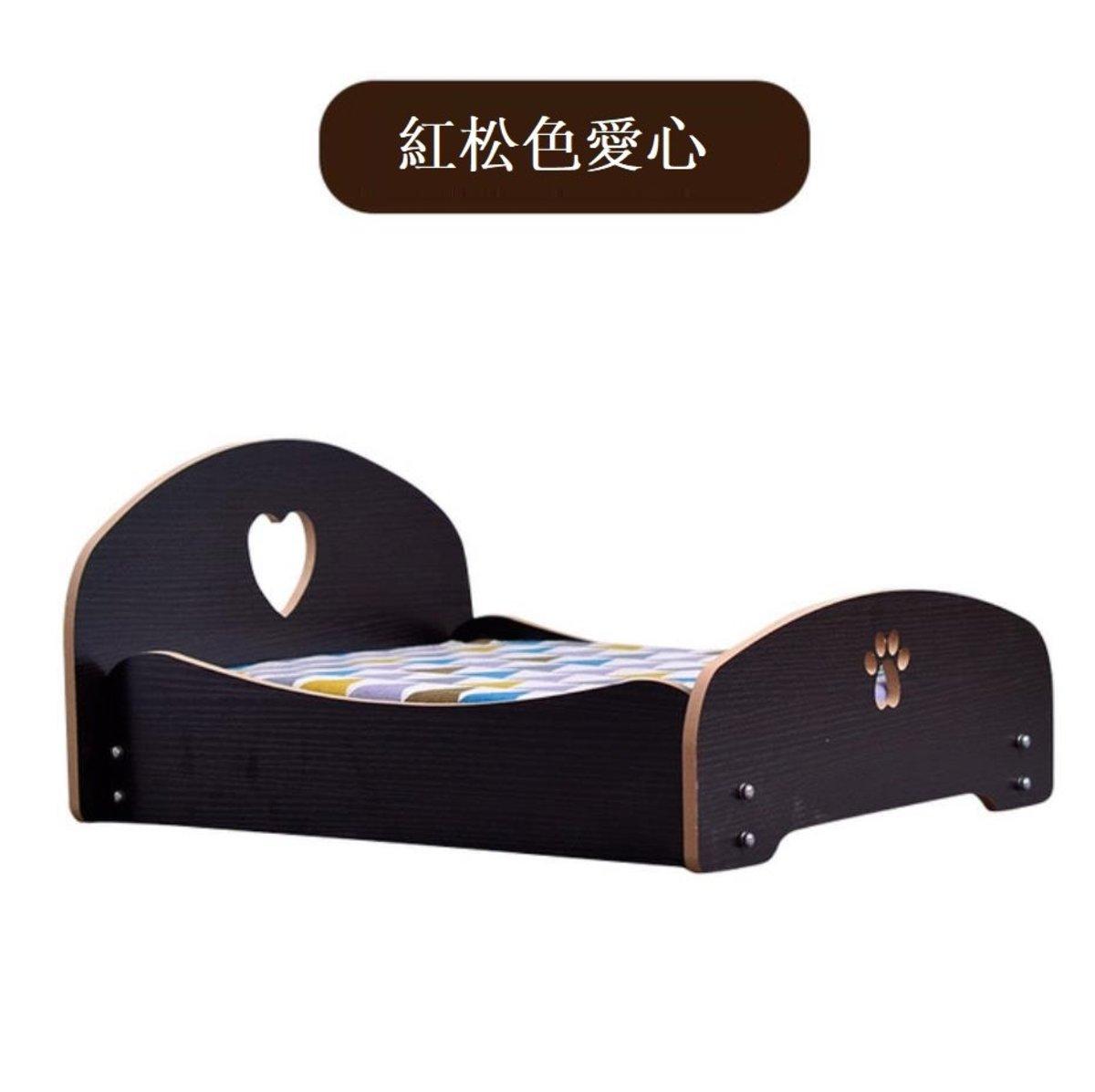 寵物貓狗木床墊窩 紅松色愛心 L