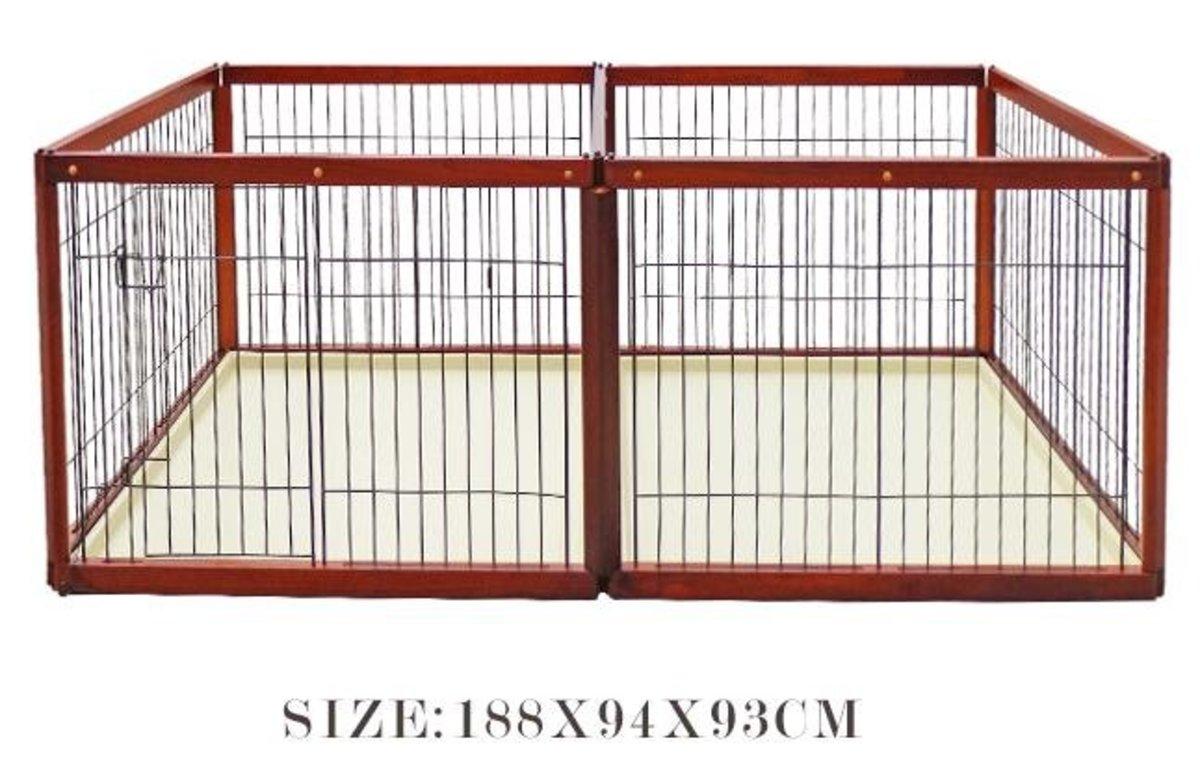 木製子母籠狗圍欄 (APH款 188x94x93cm)棕色狗籠