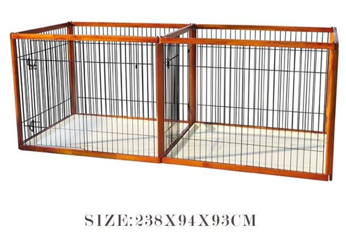 木製子母籠狗圍欄(BPH款 238x94x93cm)棕色狗籠