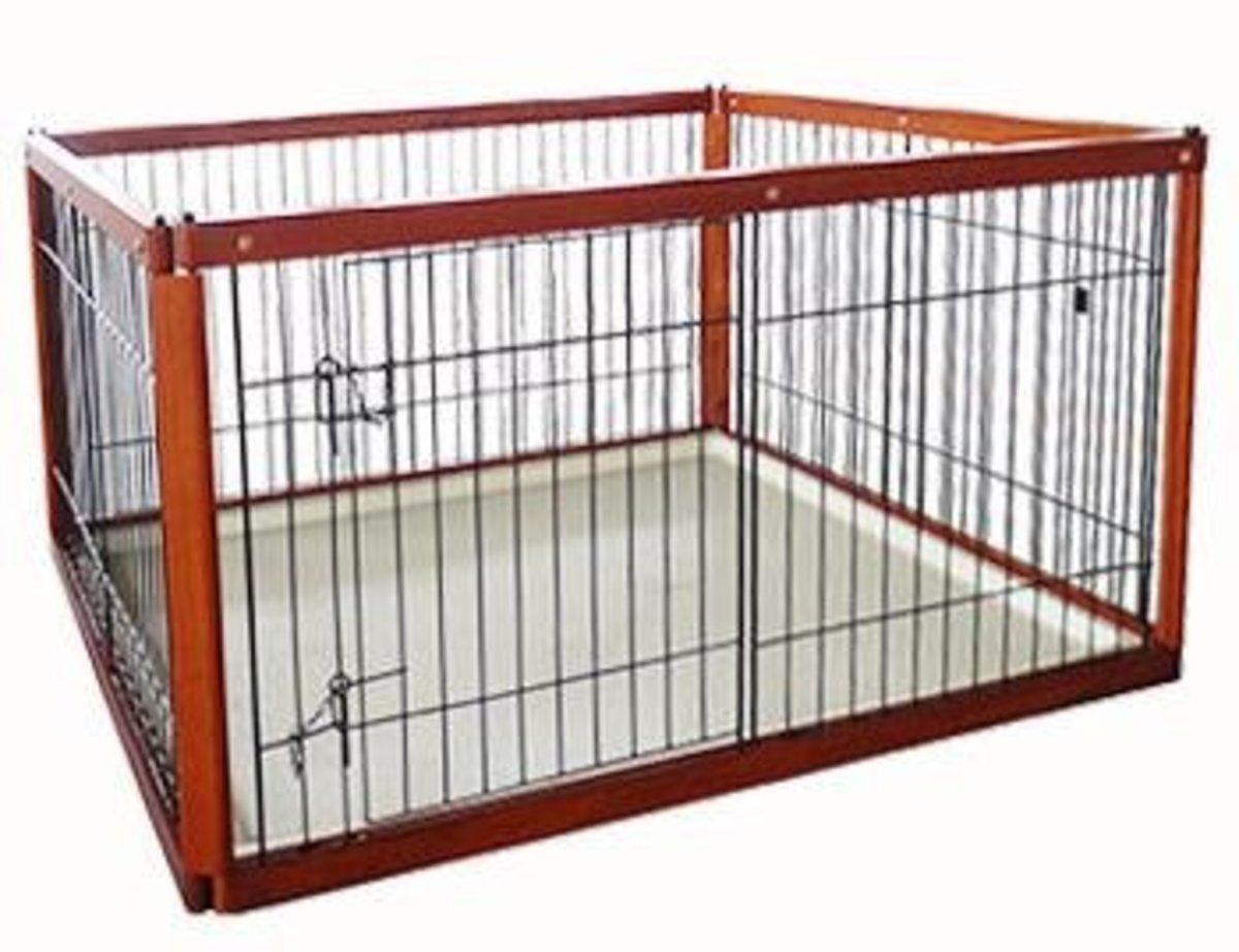 木製狗籠狗圍欄(118x64x61cm 棕色 MS-126)
