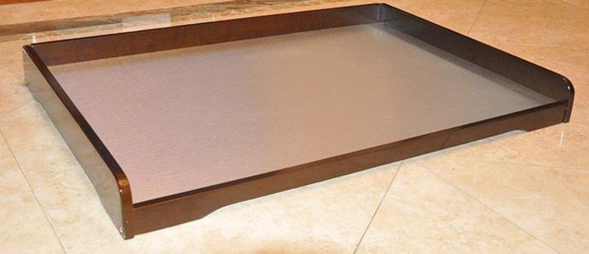 貓床狗床-冰絲實木寵物床夏涼狗窩(棕色)540x430x80mm
