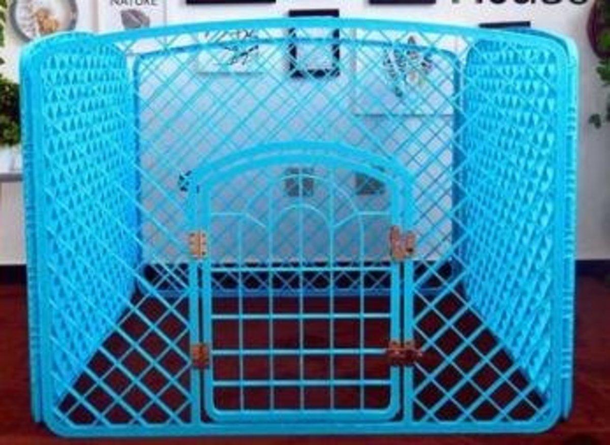 室內狗圍欄膠圍欄(藍色)90*90*60cm (塑料門軸)