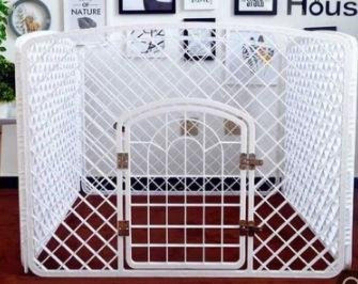 室內狗圍欄膠圍欄(白色)100*100*77cm (金屬門軸)