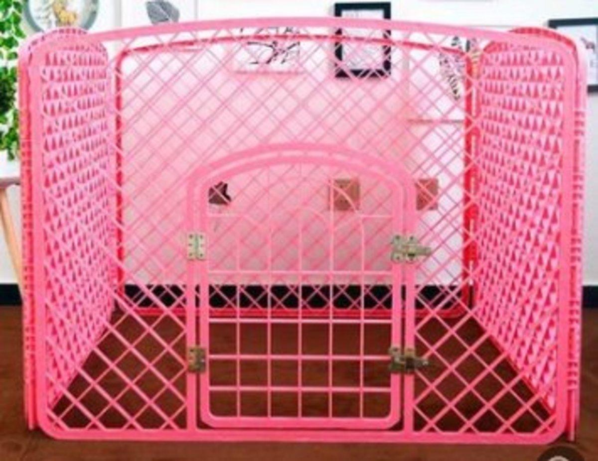 室內狗圍欄膠圍欄(粉色)90*90*60cm (塑料門軸)